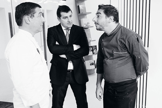 THREE'S COMPANY | The brain trust behind El Celler de Can Roca. From left, head chef Joan Roca, sommelier Josep Roca and pastry chef Jordi Roca. Photography by Nacho Alegre for WSJ. Magazine